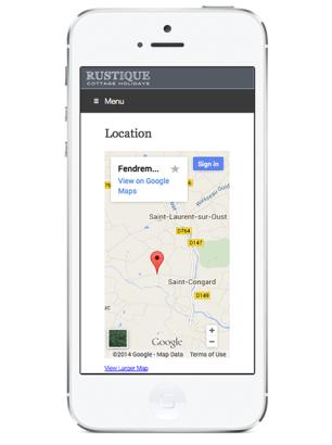 Rustique brochure website responsive design for iPhone